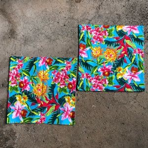Cotton Tropical Throw Pillow Cover pair 16x16 new!